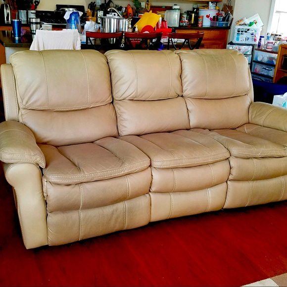 Electric reclining leather sofa and chair